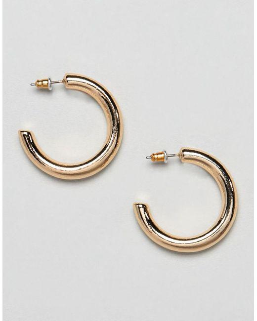 ASOS - Metallic Thick Hoop Earrings - Lyst