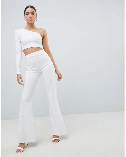 Club L - White Flared Scuba Trousers - Lyst