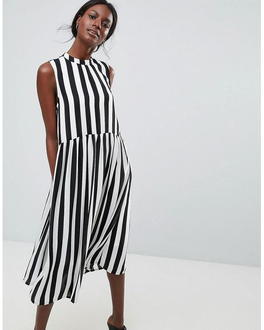 a151a84c60a61f Y.A.S - Multicolor High Neck Stripe Midi Dress - Lyst ...
