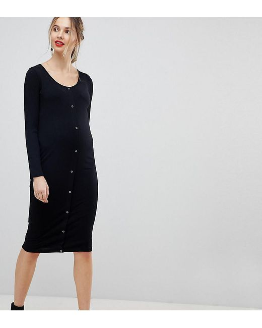 ASOS - Black Asos Design Maternity Midi Long Sleeve Bodycon Dress With Popper Front - Lyst
