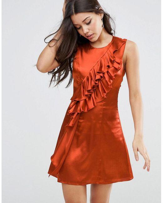 ASOS - Orange Ruffle Front Shift Mini Dress - Lyst