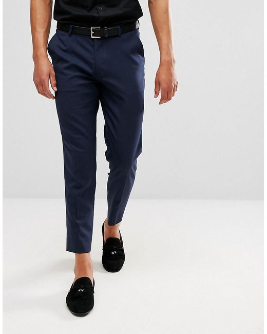 Asos Skinny Cropped Smart Pants In Navy In Blue For Men Lyst