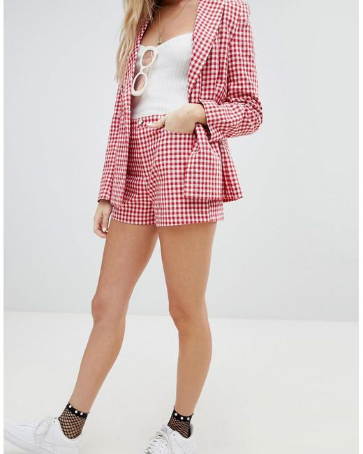 Clearance Professional Shopping Online With Mastercard High Waist Shorts In Check Co-Ord - Red Honey Punch Get To Buy Cheap Online 100% Guaranteed Outlet With Paypal Order Online 8BV9Rk3N