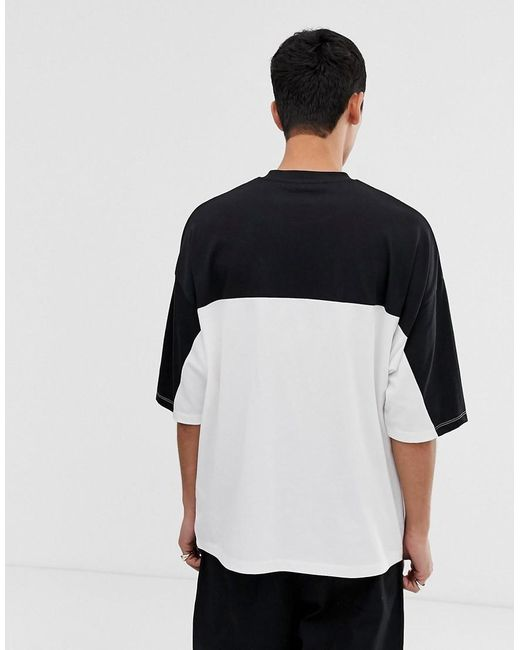 de40f754 ... ASOS - Black Oversized T-shirt With Contrast Panels And Print In Heavyweight  Jersey for