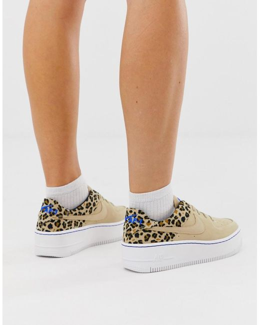 low priced d6bd5 99cc6 Nike - Multicolor Leopard Print Air Force 1 Sage Trainers - Lyst ...