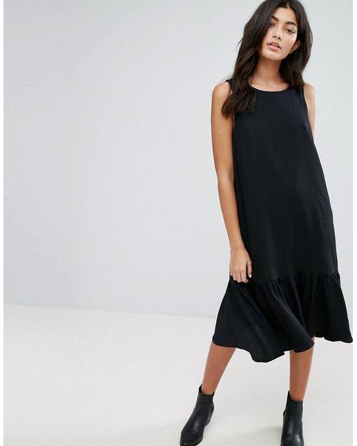 YMC | Black Drop Waist Ruffle Hem Dress | Lyst