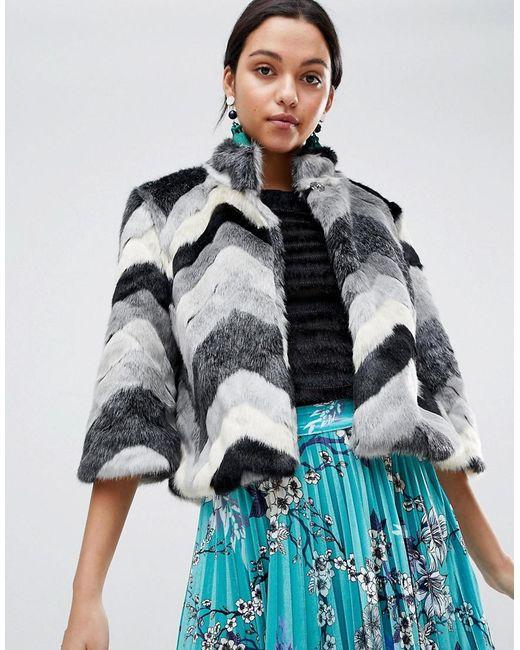 Traffic People - Black Faxu Fur Chevron Jacket - Lyst