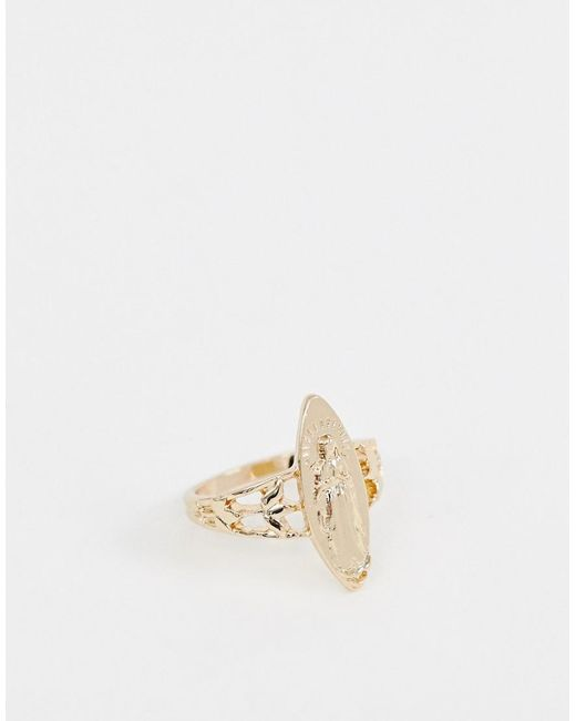 ASOS - Metallic Ring With Vintage Style Icon In Gold - Lyst