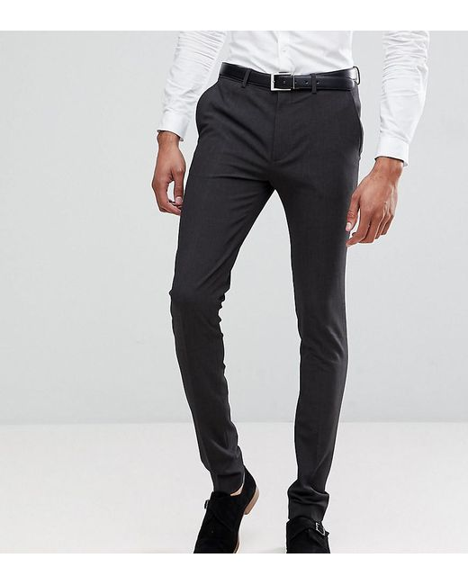 ASOS Gray Tall Super Skinny Fit Suit Pants In Charcoal for men