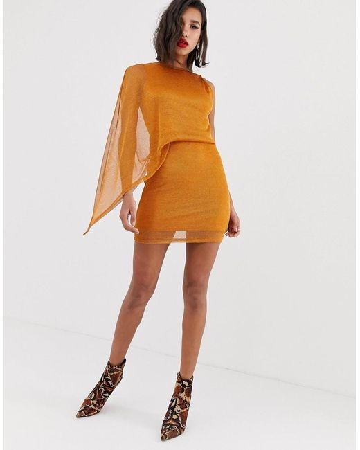 ASOS - Brown One Shoulder Metallic Chainmail Mini Dress - Lyst