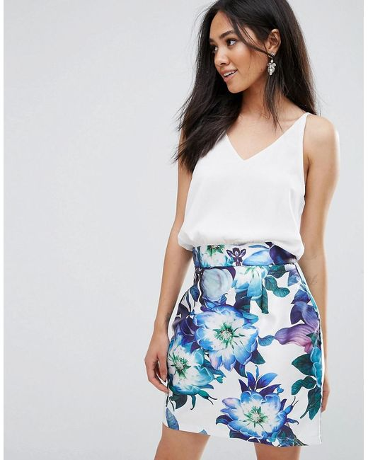 AX Paris - Blue 2 In 1 Mini Printed Floral Skirt Dress - Lyst