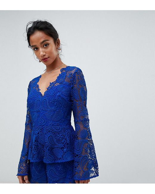 2e2d4f7bb91 ASOS - Blue Asos Design Petite Lace Playsuit With Ruffle Tiers And Fluted  Sleeve - Lyst ...