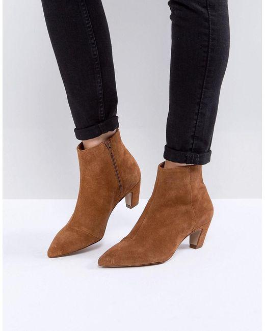 ASOS | Brown Reanne Suede Kitten Heeled Boots | Lyst