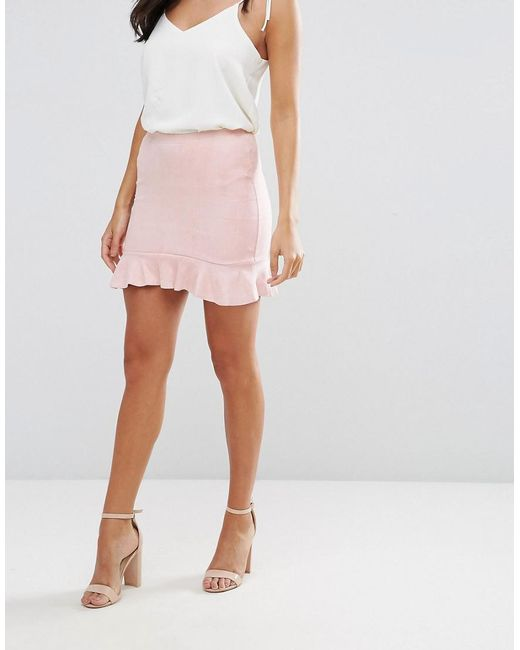 Pink Suede Frill Hem Mini Skirt - Pink AX PARIS Cheap Sale Outlet Store sVrg0UVrd