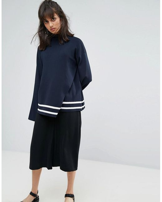 Weekday - Blue Wrap Over Detail Knit Jumper With Contrast Stripe - Lyst
