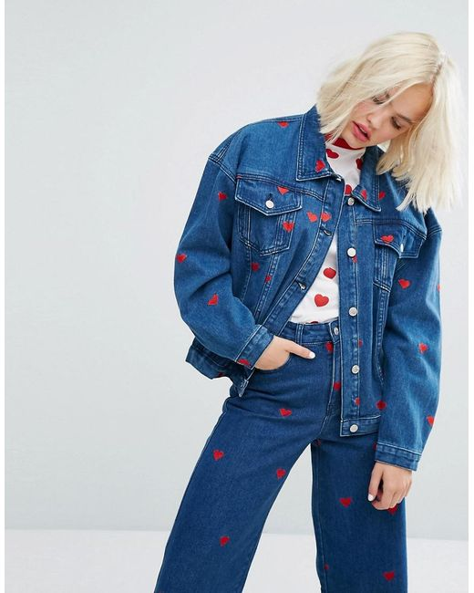 Lazy Oaf | Blue Oversized Denim Love Jacket With All Over Hearts Co-ord | Lyst