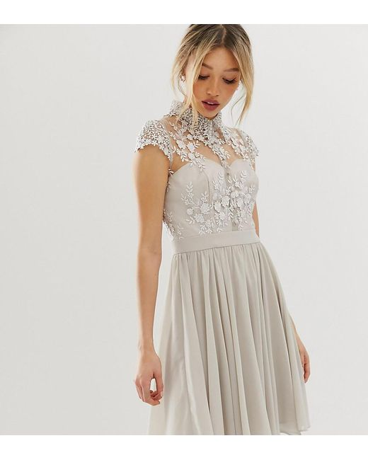 Chi Chi London - Gray Mini Prom Dress With Lace Collar In Grey - Lyst