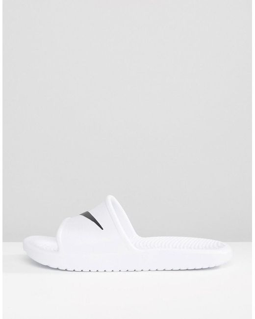 White Nike Kawa in White Lyst Swoosh In Sliders TTrFqYw