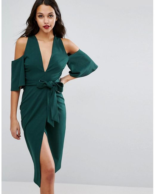 ASOS | Green Cold Shoulder Kimono Tie Pencil Dress | Lyst