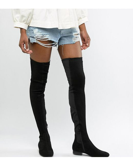 40ce08c6acd ASOS - Black Asos Design Tall Kelby Flat Elastic Thigh High Boots - Lyst ...