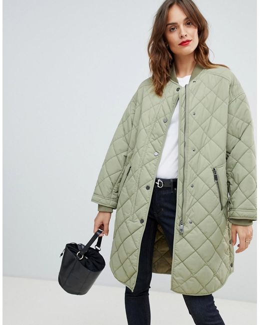 fe3a557f734 BOSS by Hugo Boss - Green Quilted Coat - Lyst ...