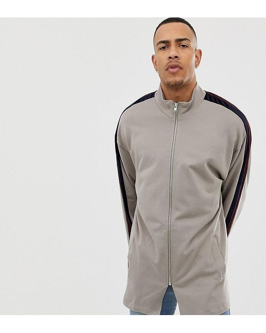 15133c468e2 ASOS - Natural Tall Oversized Longline Track Jacket With Velour Stripe for  Men - Lyst ...
