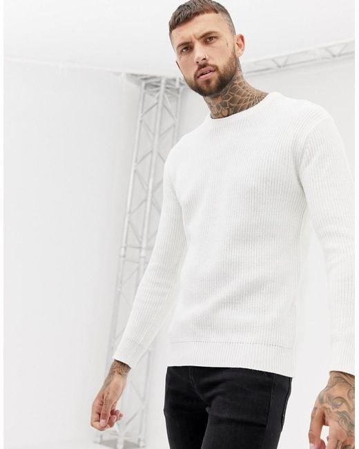 7af28882af96 Bershka - White Knitted Jumper In Cream for Men - Lyst ...