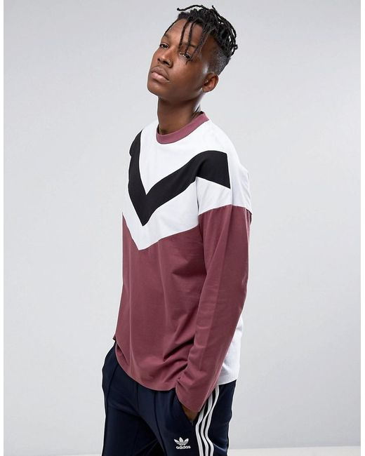 ASOS - Red Asos Oversized Long Sleeve T-shirt With Chevron Panels In Burgundy for Men - Lyst