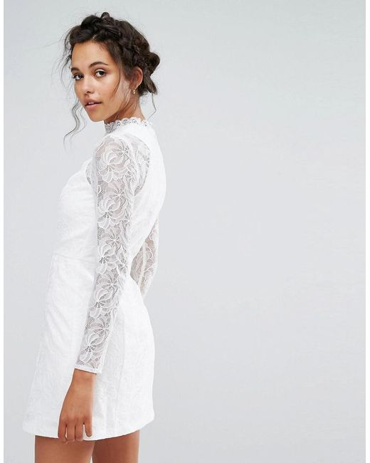 Cheap Shopping Online Lace A Line Mini Dress with Long Sleeves - White Chi Chi London Low Shipping Fee For Sale Footlocker Pictures For Sale Mf71hhlO