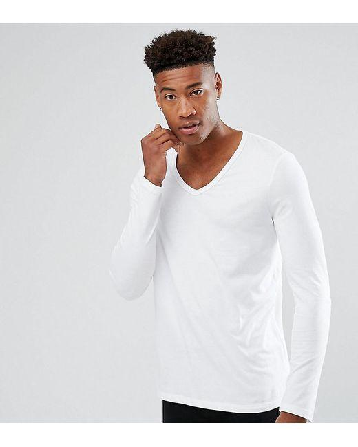 Asos tall long sleeve t shirt with deep v neck in white for Long white v neck t shirt
