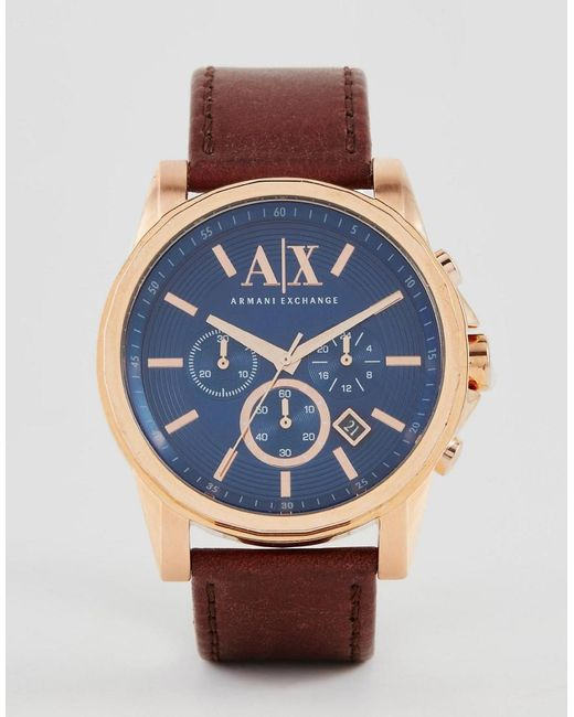 Armani Exchange   Brown Chronograph Watch With Leather Strap Ax2508 for Men   Lyst