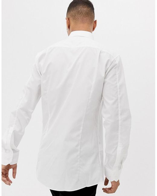 80c18a2cfc8e HUGO Elisha01 Extra Slim Fit Poplin Shirt In White in White for Men ...