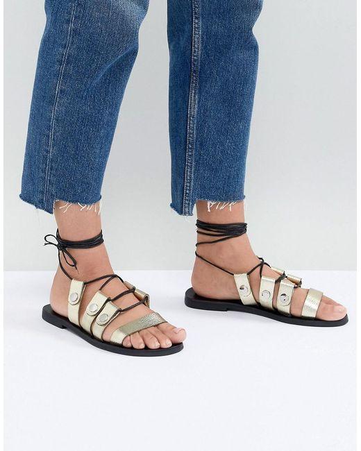 Sol Sana - Metallic Divison Gold Sandals - Lyst