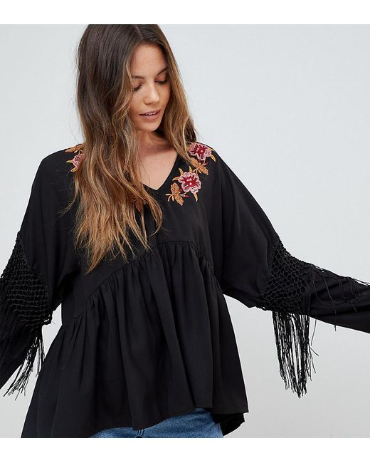 ASOS - Black Embroidered Smock Top With Fringe Sleeve - Lyst