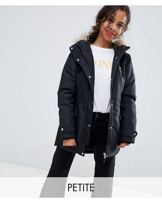 Vero Moda - Black Faux Fur Hooded Parka - Lyst