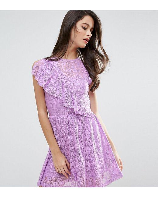 ASOS | Purple Ruffle Detail Lace Skater Dress | Lyst