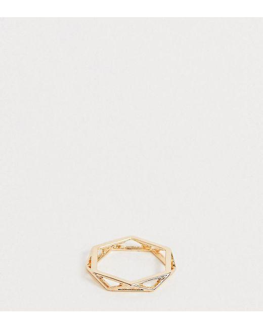 ASOS Metallic Asos Design Curve Ring In Open Geo Design In Gold