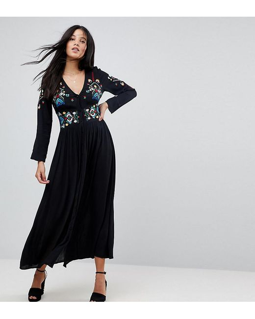 ASOS - Black Embroidered Maxi Dress - Lyst