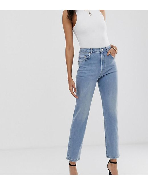 06afe71b2f2ba ASOS - Blue Asos Design Tall Florence Authentic Straight Leg Jeans In Low  Stretch Denim In ...