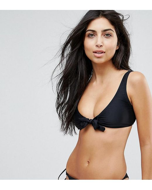 South Beach - Black Mix And Match Tie Front Bikini Top - Lyst