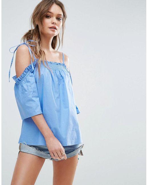 ASOS | Blue Cold Shoulder Top In Cotton With Tie Shoulder | Lyst