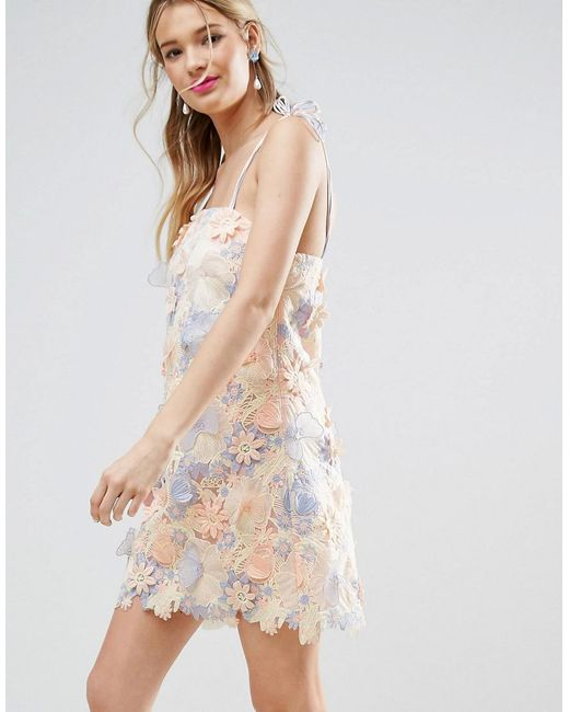 ASOS | Multicolor Salon 3d Laser Cut Mini Dress With Tie Straps | Lyst