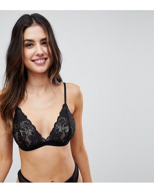 Wolf & Whistle - Black Lace Triangle Bra - Lyst