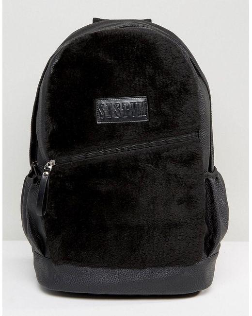 SYSTVM - Backpack In Black Faux Suede for Men - Lyst