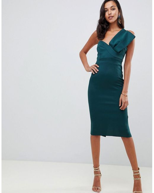 3dce492ec1d ASOS - Green Bandeau Bow Detail Scuba Midi Bodycon Dress - Lyst ...