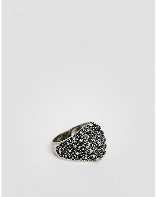 ASOS - Metallic Statement Ring In Silver With Crystals for Men - Lyst