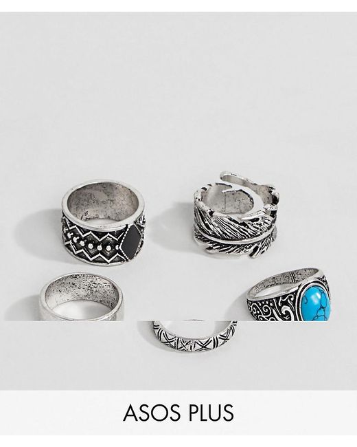 ASOS - Metallic Plus Chunky Ring Pack In Burnished Silver With Feather And Turquoise Stone for Men - Lyst