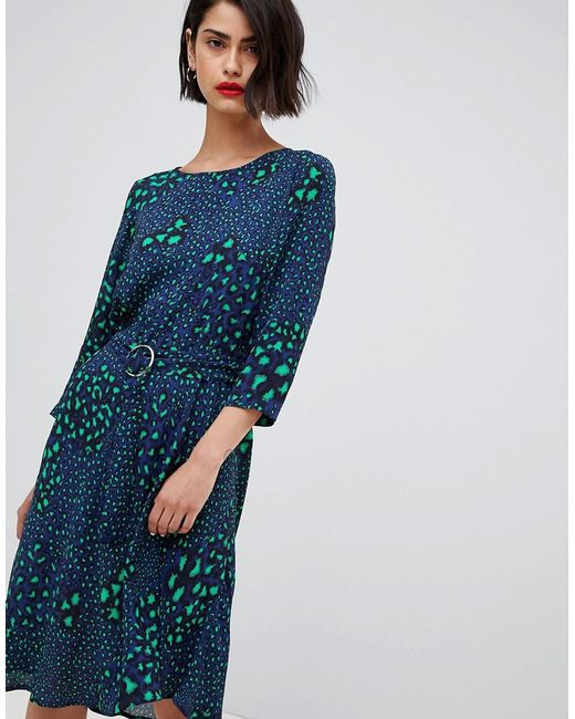 2nd Day - Blue 2ndday Belted Dress In Multi Leopard Print - Lyst