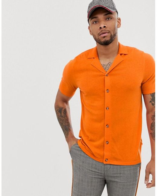 ASOS Knitted Button Through Revere Polo In Orange for men