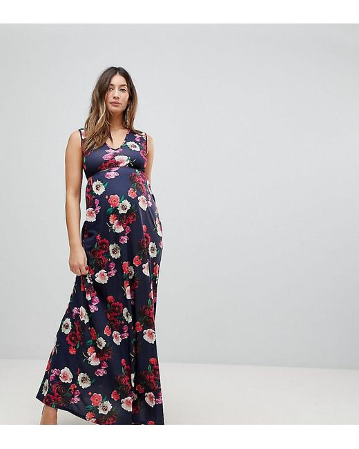 ccd3987c1ae6 Bluebelle Maternity - Blue Maxi Dress With Plunge Neck And Cut Out Detail -  Lyst ...